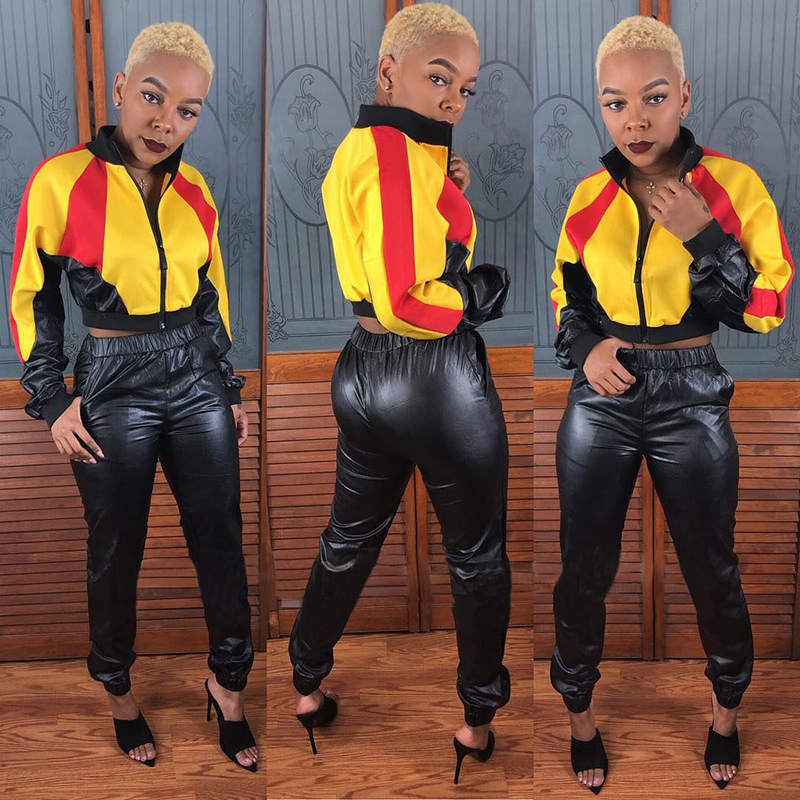 019157819b US $30.45 50% OFF|Sexy TWO PIECE SET Matching Ladies Club Outfits Pu  Leather Jogger Pants Faux Fur Jacket Women Tweed Suits Vogue Streetwear  Twin-in ...