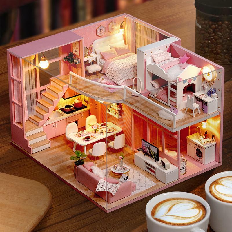 L026 Dream Angle bricolage maison de poupée avec meubles lumière musique moteur anti-poussière couverture cadeau maison enfants assembler maison jouet 24.5 cm