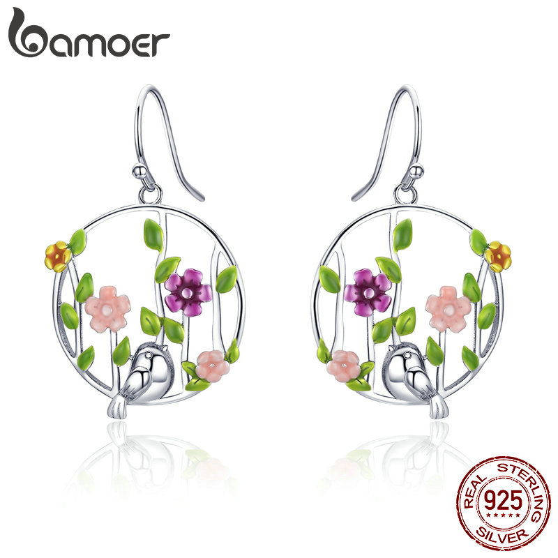 BAMOER Genuine 925 Sterling Silver Blooming Forest Birds Secret Drop Earrings For Women Sterling Silver Earrings Jewelry SCE480