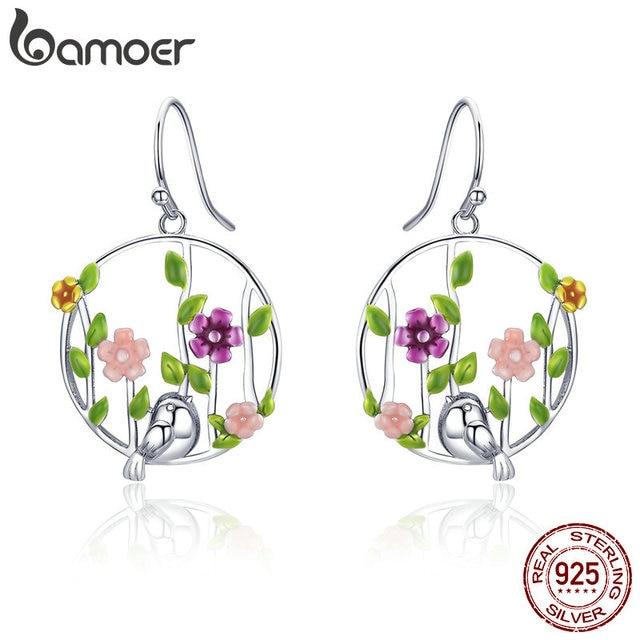 925 Sterling Silver Blooming Forest Birds Secret Drop Earrings