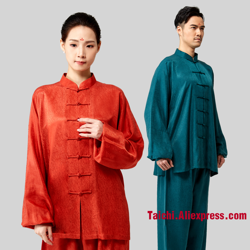 New Fashion Hang Down Fabric High Quality Tai Chi Uniform Kung Fu Clothing For Performance Unisex 3 Colors Red White And Green