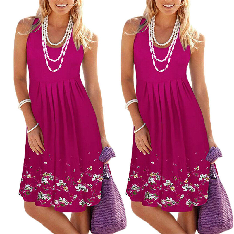 2020 Fashion New Women Summer Bohemian O-Neck Sleeveless A-Line Swing Dress Casual Tunic Plus Size Knee Length Loose Sundress