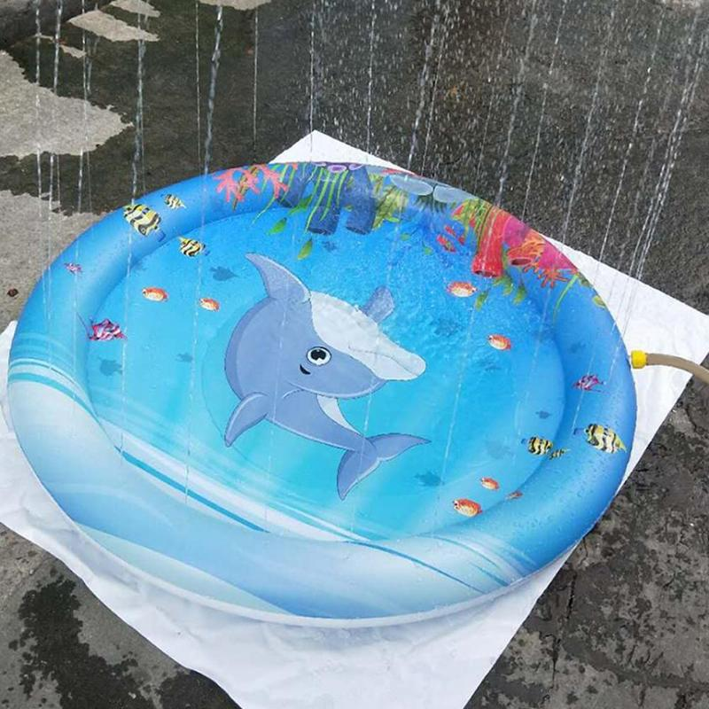 Summer Inflatable Water Spray Pad Kids Outdoor Sports Play Toys Children PVC Water Spray Mat Beach Blue Whale Printed Cushion