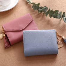 купить Short Wallet Women Purses Tassel Fashion Coin Purse Card Holder Wallets Female High Quality Clutch Money Bag PU Leather Wallet по цене 81.41 рублей