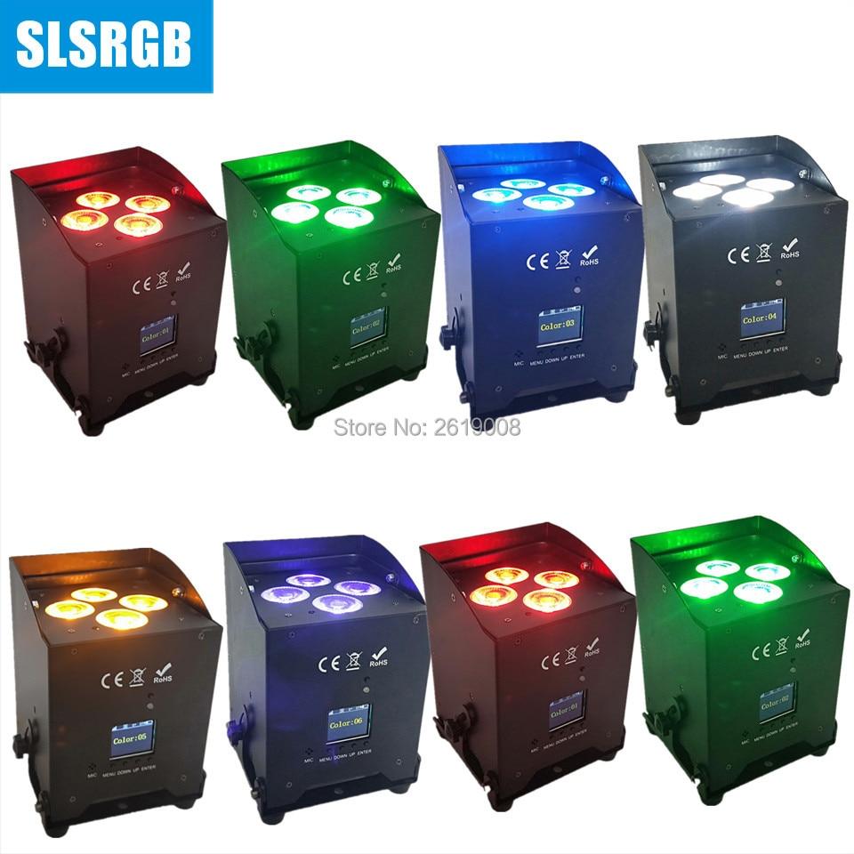 8pcs/lot led light Remote control White/Black Housing 4PCS 6in1 Wireless Battery operated led light 4pcs 18w 6in1 rgbwa+uv