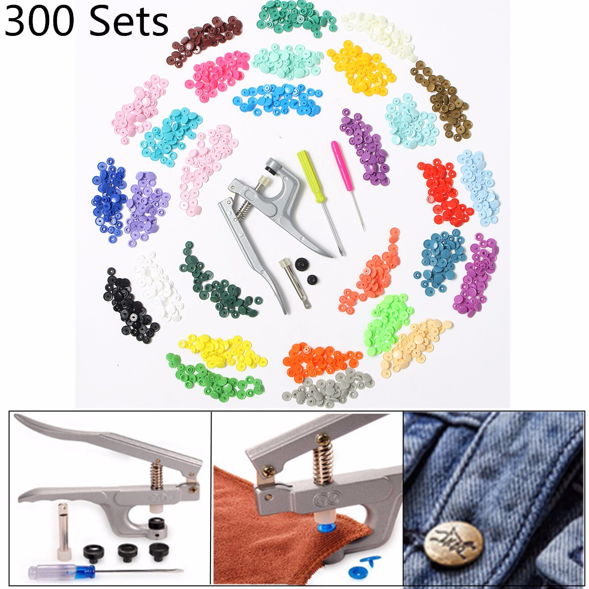 Hot Sale 300 Sets 10 Colors KAM Snaps T5 Snap Starter Plastic Poppers Fasteners +1 Pliers For Sewing Handmade DIY Cloth Suplies