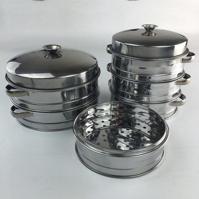 1 costume batterie de cuisine acier inoxydable vapeur à la vapeur boulettes cuisine chinoise vapeur treillis poisson riz Dim Sum Commercial petit déjeuner