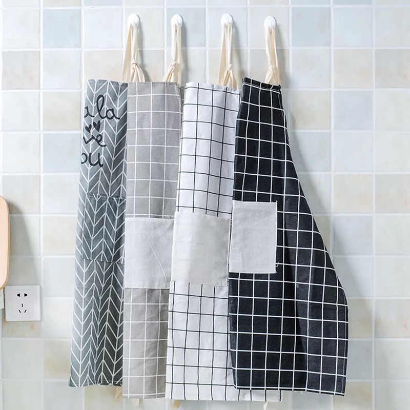 Modern Simple Style Hot Sale High Quality Cotton Waterproof Women Aprons Adjustable Sleeveless Cooking Work Aprons Kitchen Apron