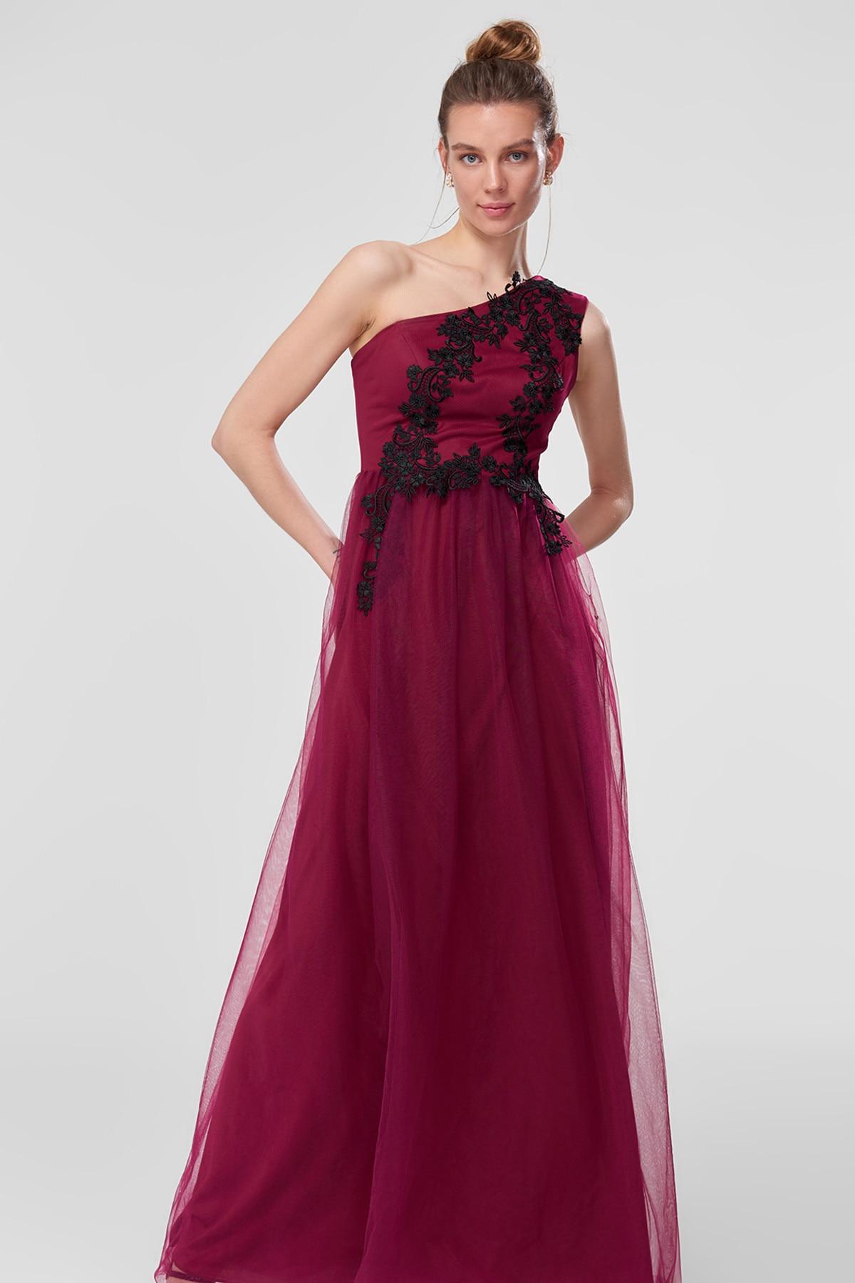 9cff74c3981d2 Trendyol Advanced Accessory TPRSS18VF0016 Plum Evening Dress