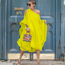 DEAT 2019 Summer Novel Long Loose Plus Size Yellow Chiffon Dress Hip Hop Butterfly Sleeve Slash Neck Maxi Vestido Women MD775(China)