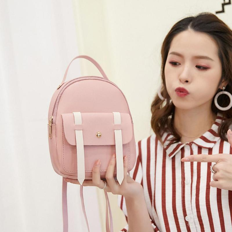 Sweet College Style Small Backpack with Earphone Hole PU Leather Fashion Girl Mini Shoulder Bag Female Bag bolsa femininaSweet College Style Small Backpack with Earphone Hole PU Leather Fashion Girl Mini Shoulder Bag Female Bag bolsa feminina