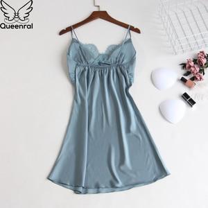 Image 5 - Queenral Silk piżama kobiety 5 sztuk zestawy Sexy koronkowa kobieta satynowa piżama lato Pijama Sexy Mujer bielizna nocna dla kobiet klatki piersiowej klocki