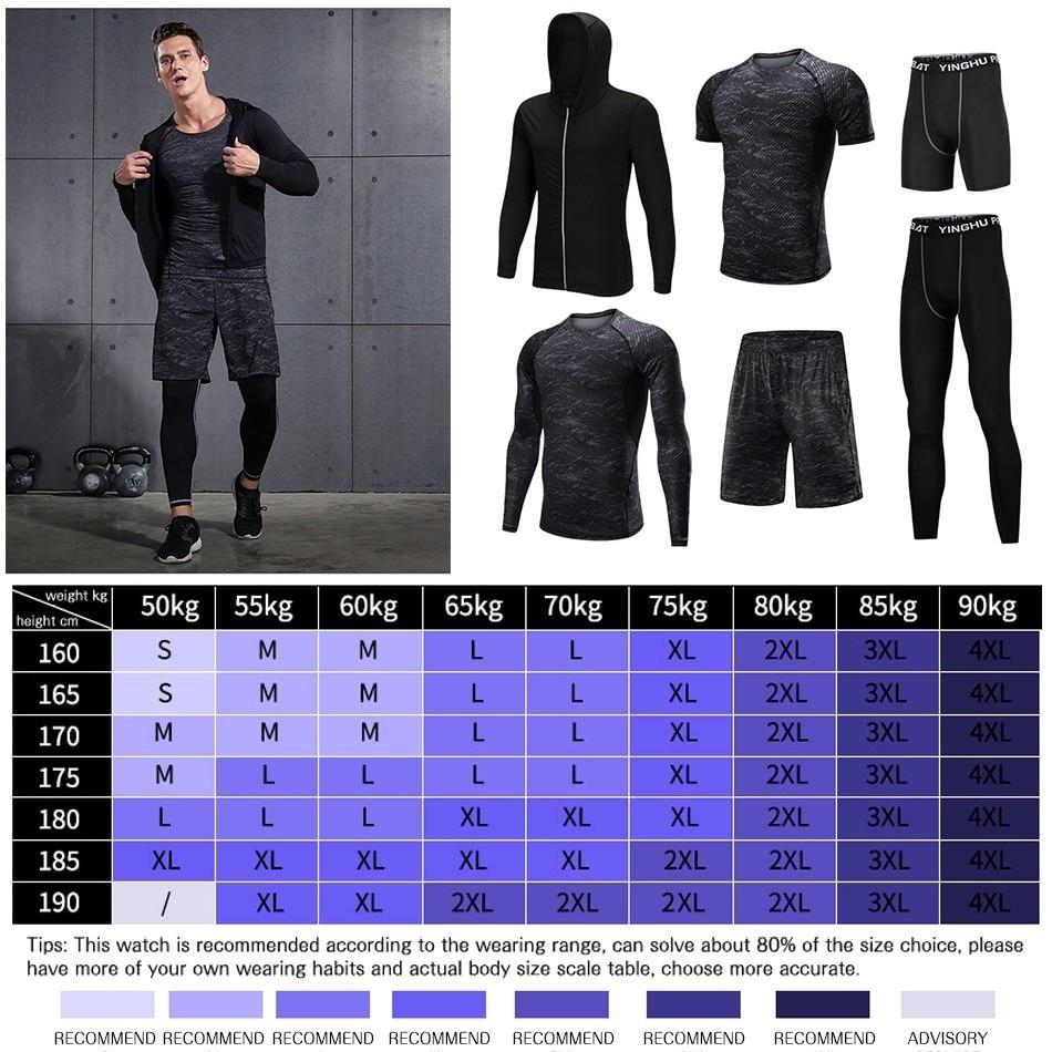 REXCHI 5 pcs/ensemble Hommes de Survêtement costume de Sport Gym Fitness vêtements de compression Courir Jogging Sport Wear Exercice collant d'entraînement - 6
