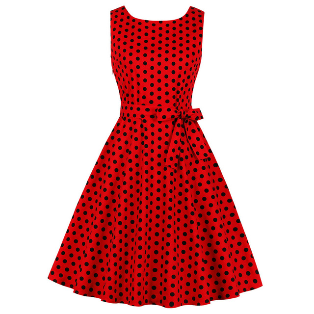 c91977e2c76c5 US $13.7 49% OFF|Kenancy Women Sexy V Neck Sleeveless Vintage Dress Red  Polka Dot Print Party Vestidos Rockabilly Pin Up Swing Retro Belt Dress-in  ...