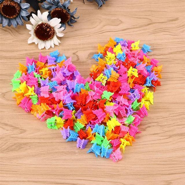 100 Pieces Butterfly Hair Clips Claw Barrettes Mixed Color Mini Jaw Clip Hairpin Hair Accessories for Women and Girls 2