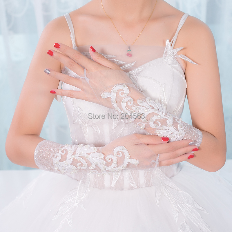 Elbow Length Wedding Party Fingerless Bridal Gloves with Pearls