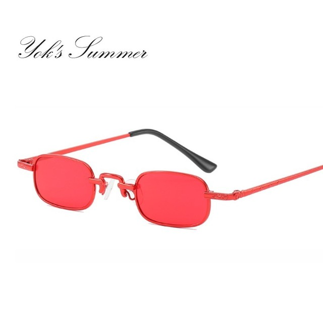 ef1814ab13 Vintage Small Narrow Punk Sunglasses Ultra Light Rectangle Thin Metal Red  Ocean Color Lens Glasses Fashion