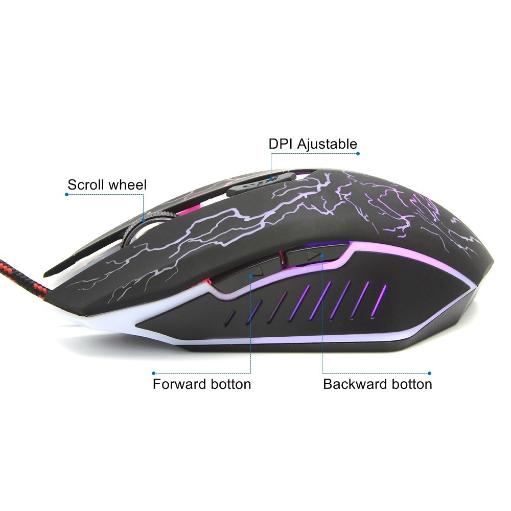 CHUYI Gaming Mouse LED Flash Blacklight Change Optical Ergonomic Game 1600 DPI Gamer Mause For PC Laptop Computer