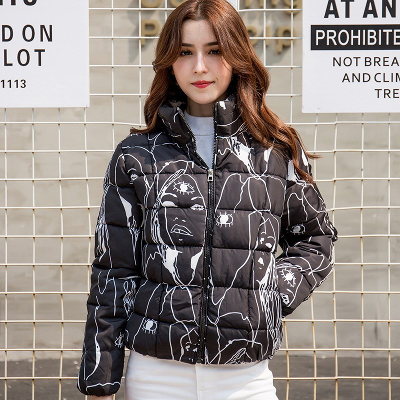 2019 Winter Women Short   Parka   Coat Female Slim Long Sleeve Lady Padded Jacket Coat Casual Print Short Warm   Parkas   Outfit Outwear
