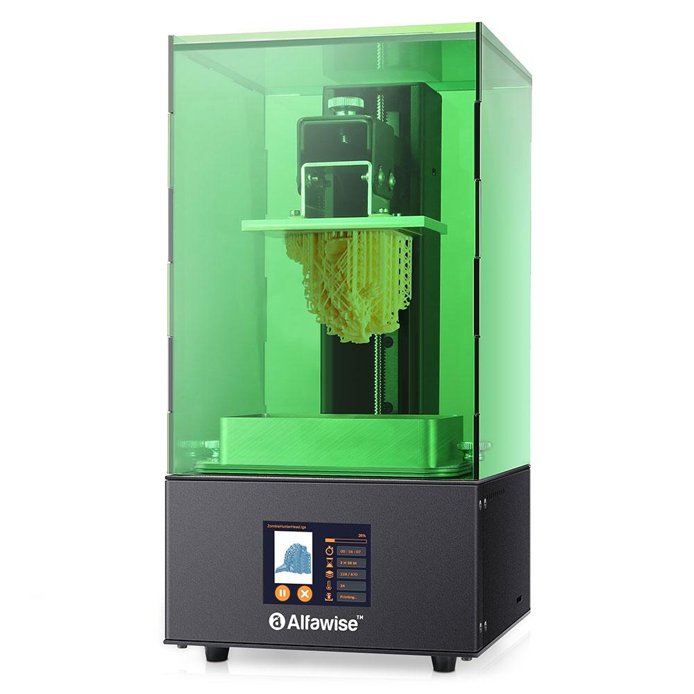 Alfawise W10 LCD SLA résine imprimante 3D Machine complète vert US Plug plate-forme d'impression