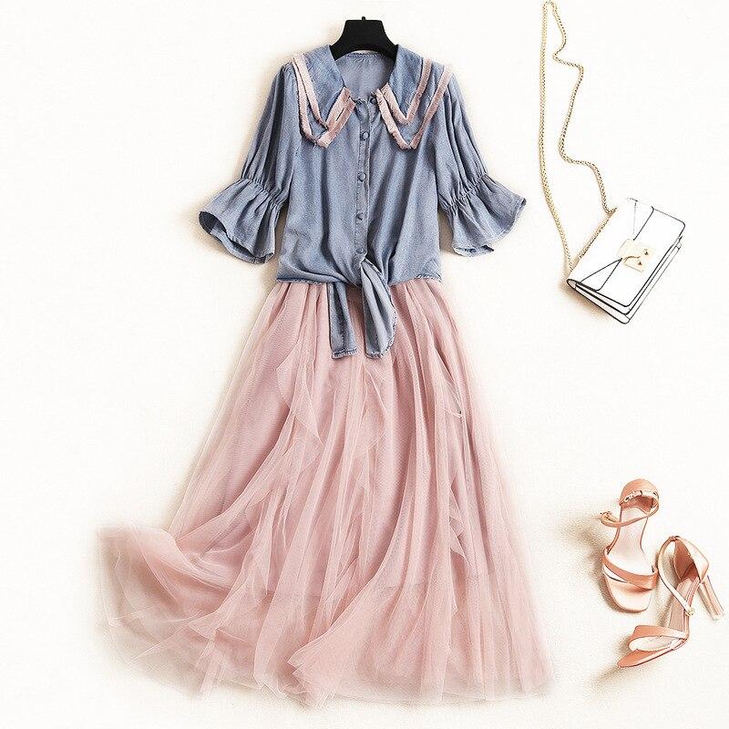 2019 봄 신선한 패션 2 pcs 세트 핑크 kawaii 스파게티 스트랩 메쉬 드레스 + 술 옷깃 나비 절반 슬리브 보우 여자 정장-에서여성 세트부터 여성 의류 의  그룹 2