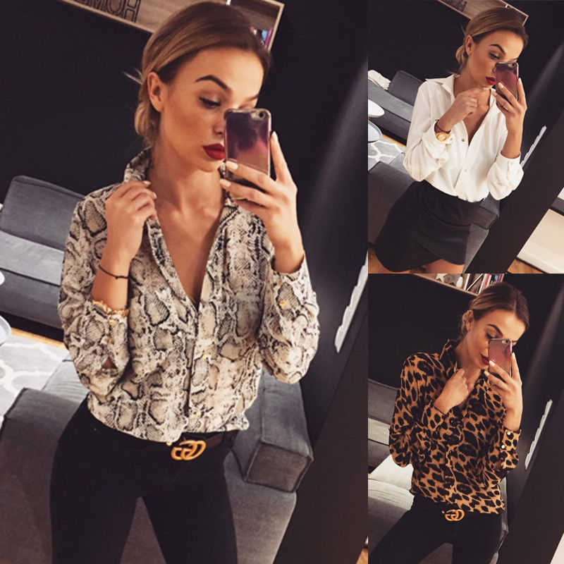 a035d6d04bbd6b Women Leopard Print Top Autumn Loose Blouse Fashion Ladies Elegant Tops  Bodycon Low-cut Long