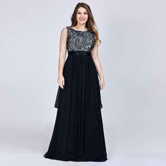 New Arrival Ladies Long Evening Dresses 2019 Elegant Sleeveless O-Neck Lace Plus Size Formal Gowns Chiffon A-line Robe De Soiree 3