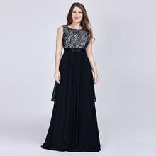 New Arrival Ladies Long  2019 Elegant Sleeveless O-Neck Lace Plus Size Dresses