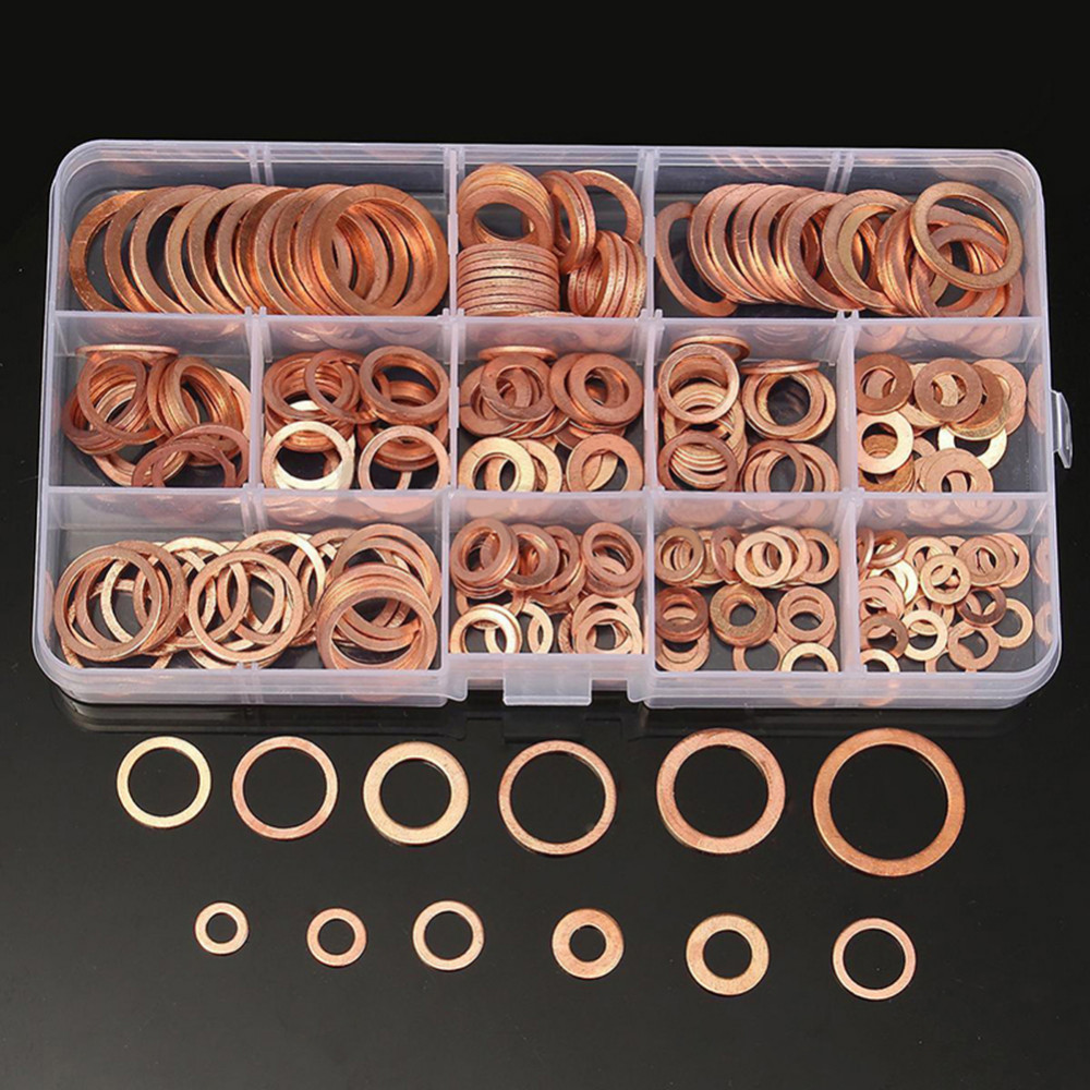 150pcs/set Copper Crush Washer Ring Engine Oil Drain Gasket Metal Tube Srew Sealing Rings for high pressure braking systems