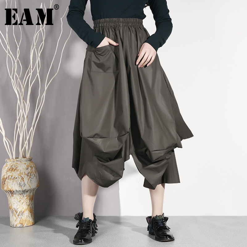 [EAM] 2019 New Spring Summer High Elastic Waist Black Stereoscopic Loose   Wide     Leg     Pants   Women Trousers Fashion Tide JO582