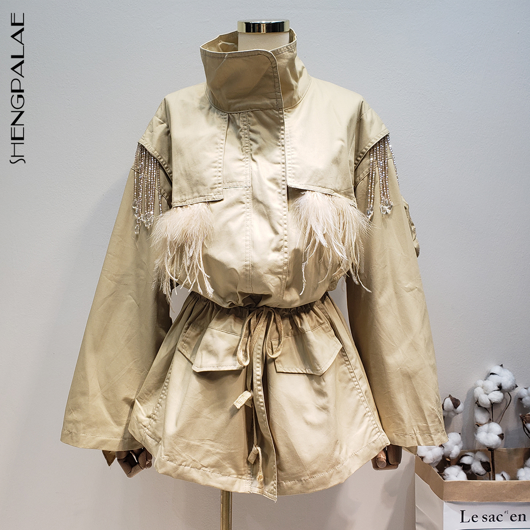 SHENGPALAE 2019 スタンド襟ファッションジャケット長袖ステッチビーズバックフリルウエスト新冬の女性のコート FL982  グループ上の レディース衣服 からの トレンチ の中 1