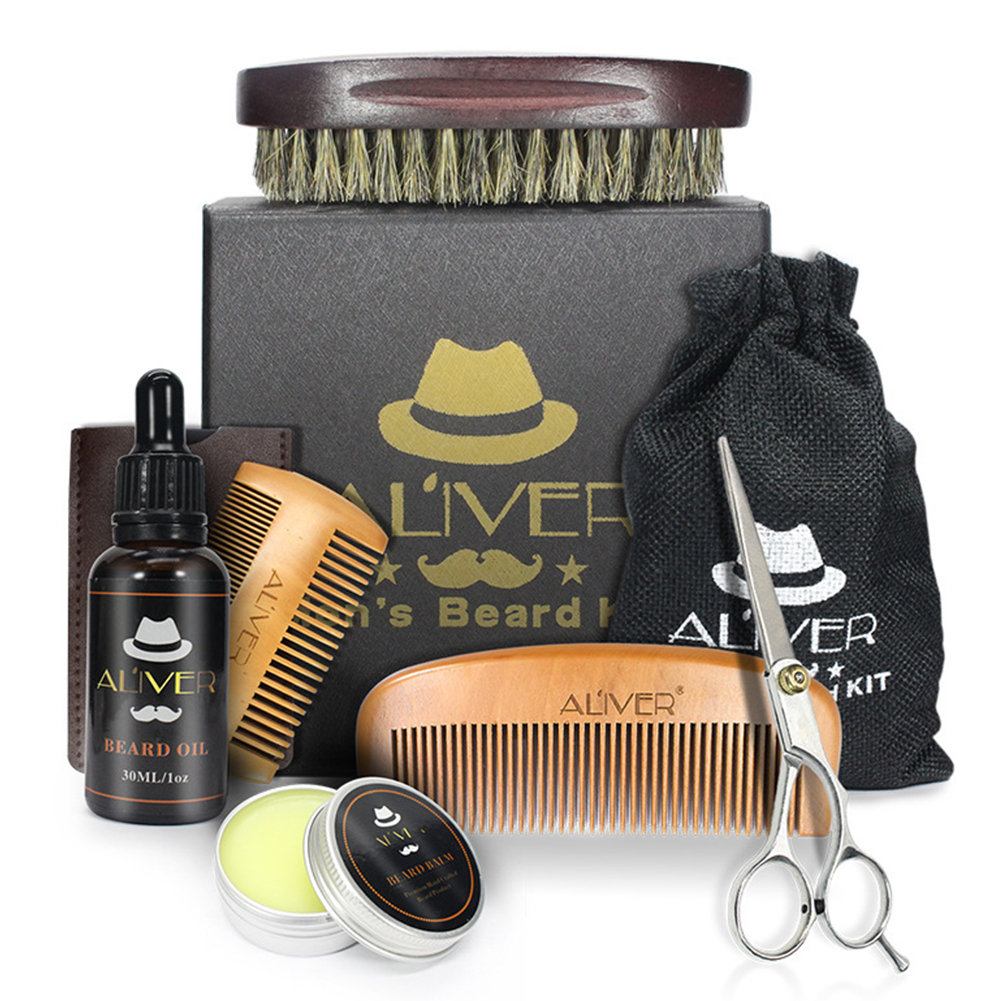 Men Trimming Beard Care Kit Scissor Comb Oil Growth Styling Shaping Brush Grooming Balm Set 6pcs