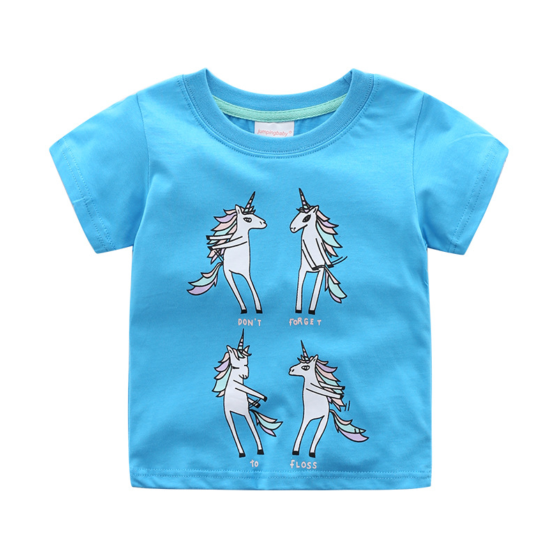 Jumpingbaby 2019 Girls Unicorn T-shirt Vetement Fille Kids T Shirt Baby Girl Clothes Summer Tops Animal Print Tshirt Koszulka