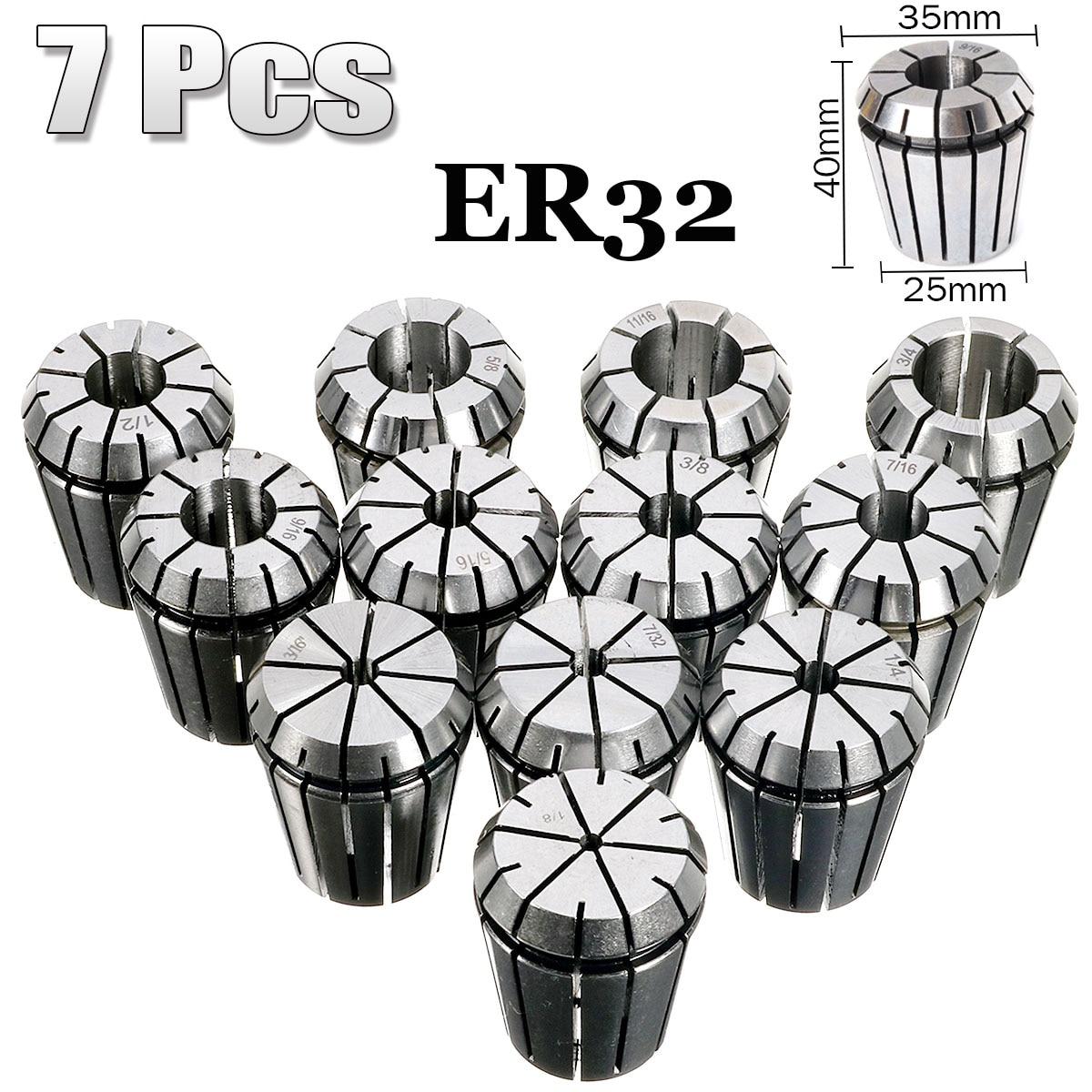 7Pcs CNC Collets ER-32 Set 3/16 1/4 5/16 3/8 1/2 9/16 3/4