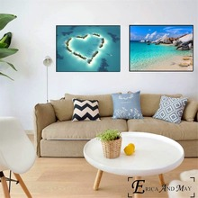 Beach 3D Room Wallpaper Landscape Canvas Painting Posters And Prints For Living No Framed Wall Art Picture Home Decor