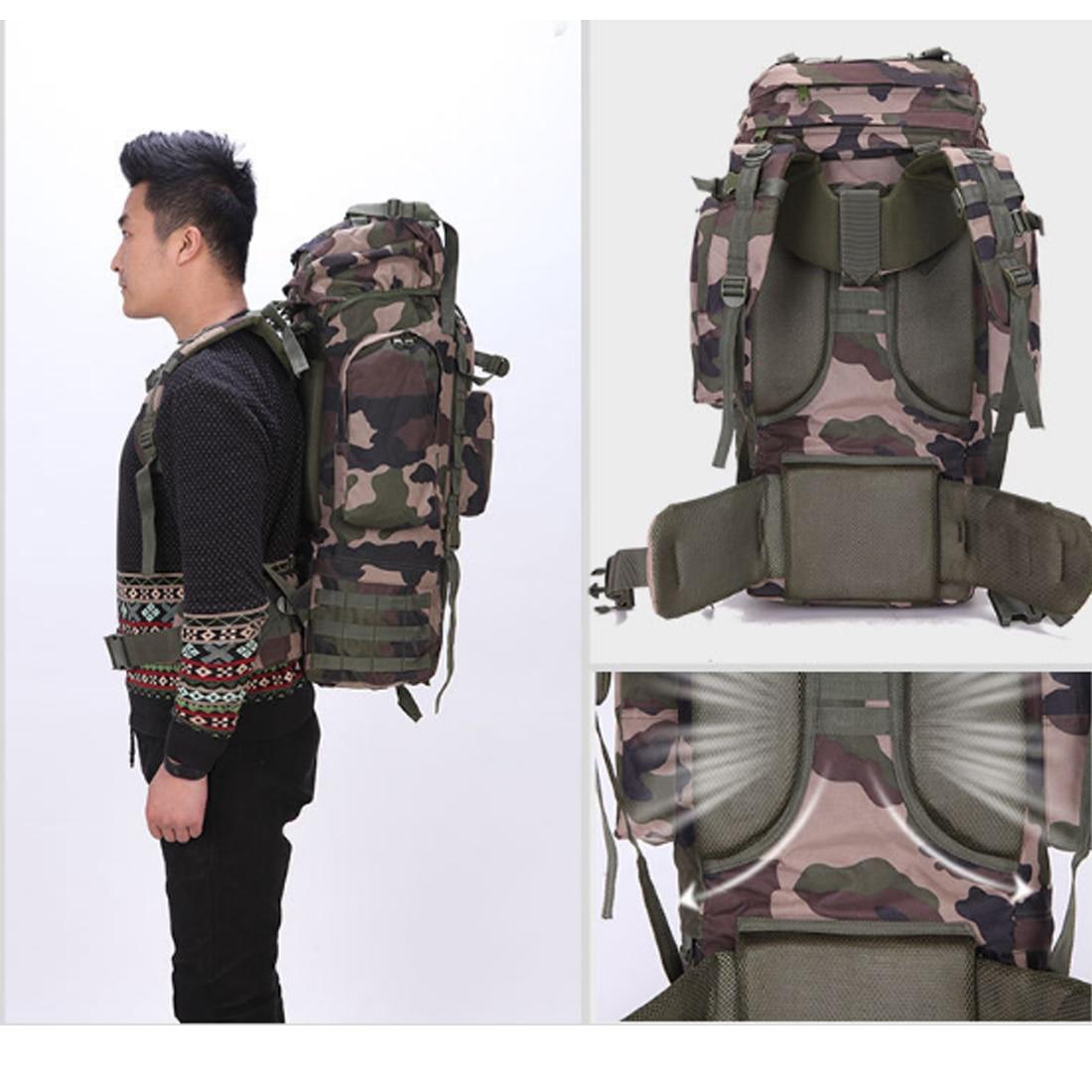65L voyage militaire sac à dos tactique classique sac pour extérieur alpinisme Camping-noir