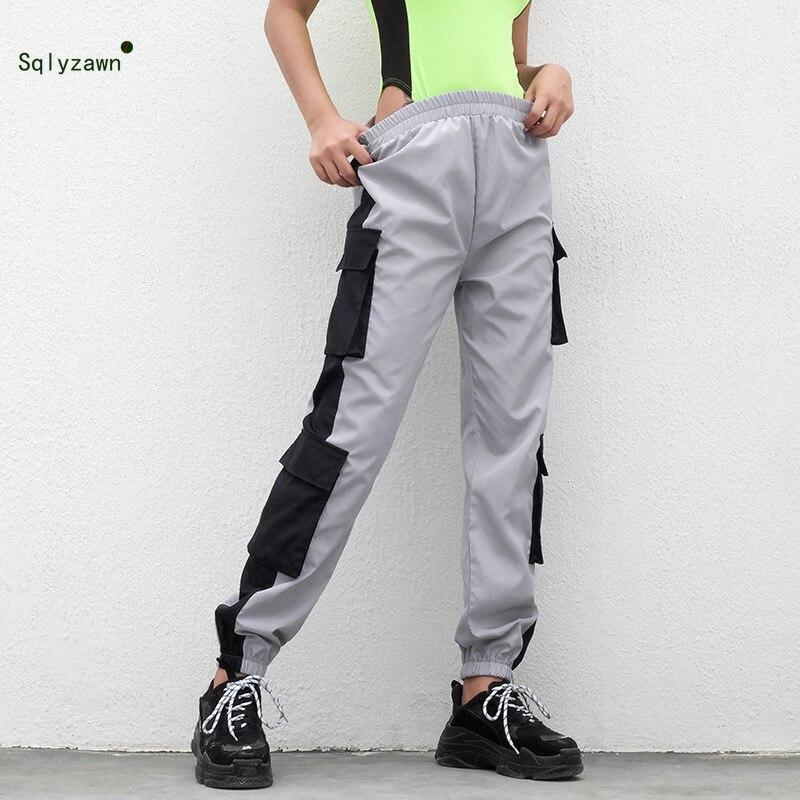 New Women Windbreaker Pants Jogger Sportswear Loose Fit Trousers 2019 Side Pocket Cargo Harem Pants Streetwear Street Sweatpants