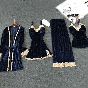 Image 4 - Lisacmvpnel 秋と冬の新ゴールドベルベット 4 個パジャマセクシーなレース暖かいカーディガン + Nightdres + パンツパジャマ女性のためのセット