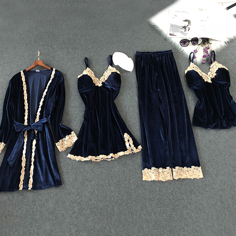 Lisacmvpnel Autumn And Winter New Gold Velvet 4 Pcs Pajamas Sexy Lace keep Warm Cardigan+Nightdres+Pant Pajama Sets For Women