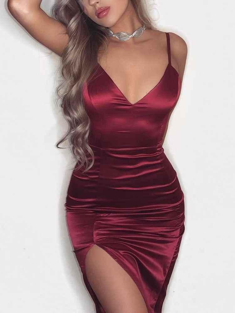 Femmes Sexy Spaghetti Satin robe bretelles profonde V Midi soirée robe irrégulière été moulante robe Clubwear rouge noir