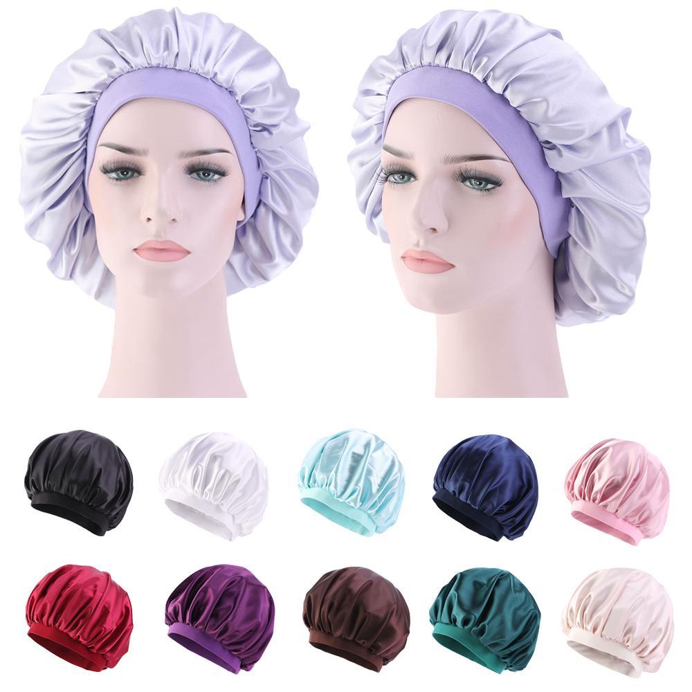 12 Colors Sleeping Hat Night Sleep Cap Hair Care Satin Bonnet Caps Nightcap For Women Men Unisex Cap Beanies Wide Band Casual