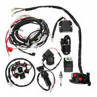 Volle Elektrik Kabelbaum Webstuhl CDI Spule Für GY6 150CC ATV Quad Buggy Go Kart Mit Gleichrichter + Magnet Relais + zündung Schalter