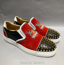 6a7f3103e232 Lace-Cut cl and gz Red Embroider Golden rivet Lazy shoes Low-Cut Red bottom  Sneakers Shoes Leather Loafers 2018 Male Footwear