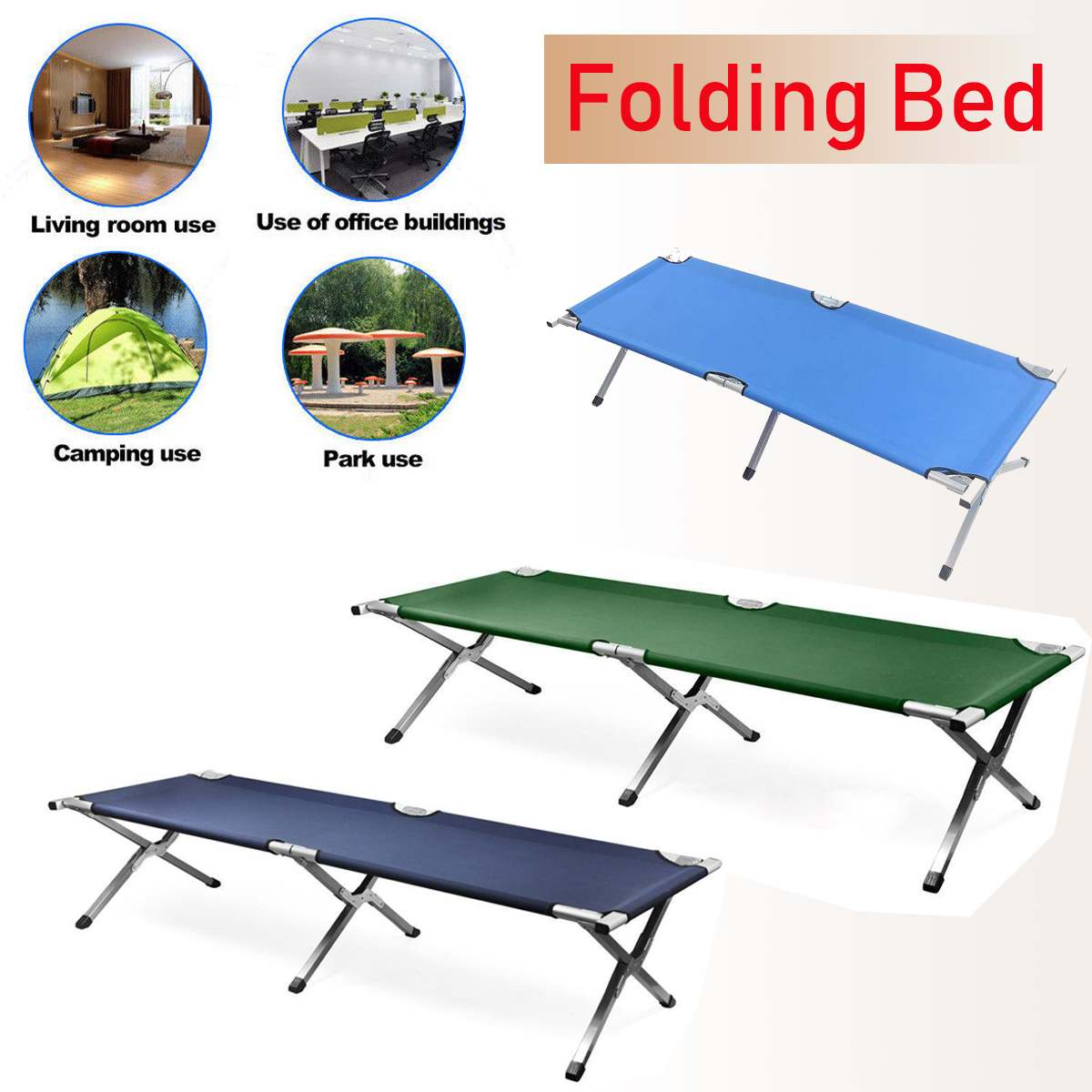 Aluminium Steel 600D  PVC Oxford Outdoor Portable Military Folding Camping Cot XL Bed With Carry Bag Hiking Fishing Chair Bed