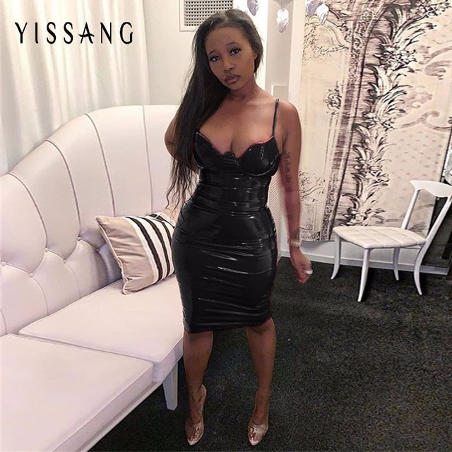 Yissang Bodycon Kleid Frauen Spaghetti Strap Sommer PU Leder Kleid 2018 Schwarz Party Club Verband Kleid Elegante Vestidos