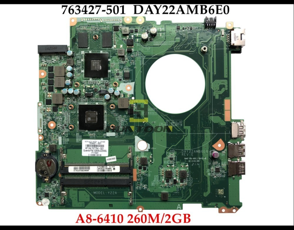 Wholesale 763427 501 For HP Pavilion 17 F Laptop Motherboard DAY22AMB6E0 Y22A 763427 001 A8 6410