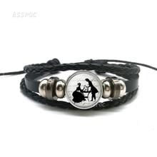 Jane Austen Pride and Prejudice Black Bracelet , Handmade Glass Cabochon Leather Women Fashion Charm Jewelry