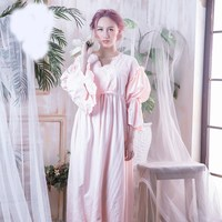 Vintage Nightgown Sleepwear Women Set Solid Spring Flare Sleeve Sleep Shirts Long Lace Hollow Out Night Wear Sleep Dress