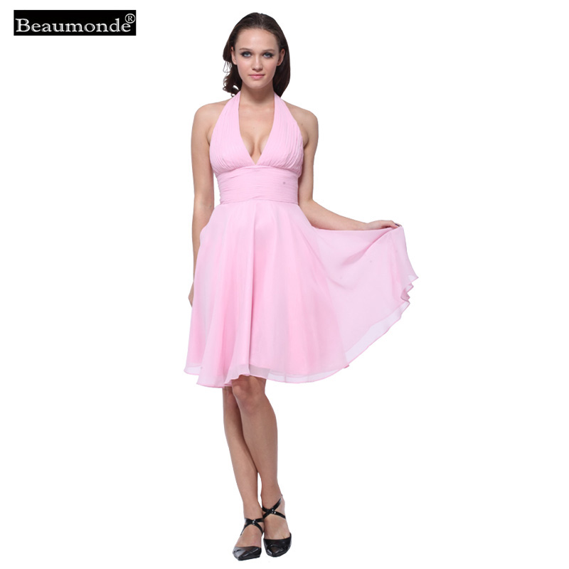 Beaumonde Cheap Short   Bridesmaid     Dresses   2018 Lovely Pleat A-Line Prom Homecoming Celebrity Party Chiffon   Dress   5 colors CO06063