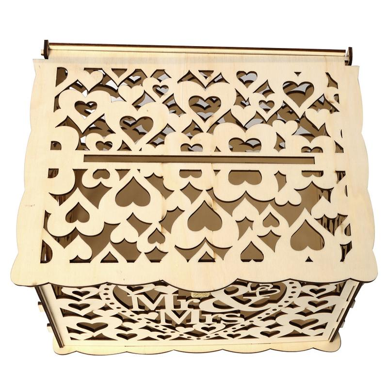 Wooden Wedding Supplies DIY Business Card Wedding Gift Box with Lock Beautiful Wedding Decoration Supplies for Birthday Party in Wedding Card Boxes from Home Garden